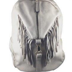 mochila gris piedra flecos