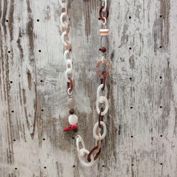 Collar largo resina y coral