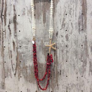 Collar largo perla estrella de mar